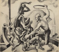 Works on Paper, THOMAS HART BENTON (American, 1889-1975). Slave Master with Slaves (Study for The American Historical Epic), circa 1924-...
