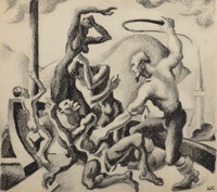THOMAS HART BENTON (American, 1889-1975) Slave Master with Slaves (Study for The American Historical Epic)<