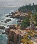 Fine Art - Painting, American:Contemporary   (1950 to present)  , T.M. NICHOLAS (American, b. 1963). Acadia Cliffs, 1996. Oilon canvas. 36 x 30 inches (91.4 x 76.2 cm). Signed lower rig...