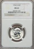 Washington Quarters: , 1936-D 25C MS63 NGC. NGC Census: (183/519). PCGS Population(302/1079). Mintage: 5,374,000. Numismedia Wsl. Price for probl...