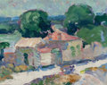 Fine Art - Painting, American:Modern  (1900 1949)  , WILLIAM ZORACH (American, 1887-1966). French Cottage, circa1910-12. Oil on board. 7-1/4 x 9-3/8 inches (18.4 x 23.8 cm)...
