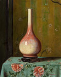 Fine Art - Painting, American:Contemporary   (1950 to present)  , HUBERT VOS (American, 1855-1935). Ceramic Vase on Table,1954. Oil on canvas. 30 x 24 inches (76.2 x 61.0 cm). Signed an...