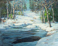 Fine Art - Painting, American:Other , WALTER KOENIGER (American, 1881-1943). Winter Landscape withBrook. Oil on canvas. 24-1/8 x 30-1/8 inches (61.3 x 76.5 c...