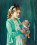 Fine Art - Painting, American:Other , ARTHUR L. BAIRNSFATHER (American, b. 1883). Little Girl withDoll. Oil on canvas. 30 x 25 inches (76.2 x 63.5 cm). Signe...