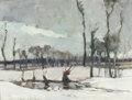 Fine Art - Painting, American:Other , CHAUNCEY FOSTER RYDER (American, 1868-1949). Winter Landscapewith Pond. Oil on panel. 10-3/8 x 13-3/4 inches (26.4 x 34...