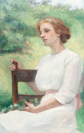 Fine Art - Painting, American:Modern  (1900 1949)  , CAROLINE A. LORD (American, 1860-1928). Seated Woman(Reflection), 1913. Oil on canvas board. 36-1/4 x 23 inches(92.1 x...