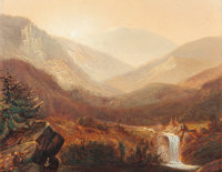 JAMES DAVID SMILLIE (American, 1833-1909) Waterfall and Distant Hills Oil on board 8-1/8 x 10-1/8