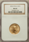 Modern Bullion Coins, 2004 G$10 Quarter-Ounce Gold Eagle MS69 NGC. NGC Census:(2342/1239). PCGS Population (14046/420). Numismedia Wsl. Pricef...