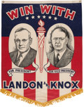 Political:Textile Display (1896-present), Landon & Knox: A Great Large, Colorful 1936 Jugate CampaignCloth Banner. ...