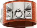 Luxury Accessories:Accessories, Hermes Shiny Orange H Alligator Collier de Chien Bracelet with Palladium Hardware. ...