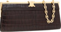 Luxury Accessories:Bags, Celine Pressed Leather Clutch Bag with Monogram Chain Strap. ...