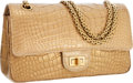 Luxury Accessories:Bags, Chanel Metallic Gold Antiqued Crocodile Medium Double Flap Bag withBrushed Gold Hardware & Jewel Chain Strap. ...