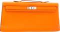 Luxury Accessories:Bags, Hermes Tangerine Swift Leather Kelly Longue Clutch Bag withPalladium Hardware. ...