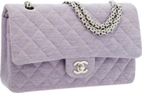 Chanel Lilac Quilted Cotton Medium Double Flap Bag with Jewel Chain Strap
