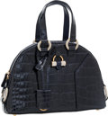 Luxury Accessories:Bags, Yves Saint Laurent Shiny Navy Crocodile Mini Muse Bag with JeweledHardware. ...