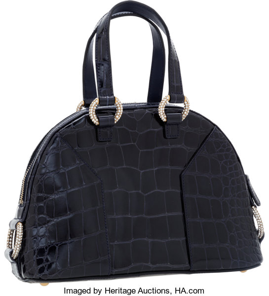 12a7cfa3ac86 Yves Saint Laurent Shiny Navy Crocodile Mini Muse Bag with