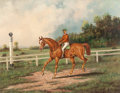 Fine Art - Painting, American:Antique  (Pre 1900), HENRY HERMAN CROSS (American, 1837-1918). Chestnut Racehorsewith Jockey Up on a Training Track with a Wooded LandscapeBe...