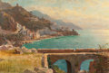 Fine Art - Painting, American:Antique  (Pre 1900), WILLIAM STANLEY HASELTINE (American, 1835-1900). View of theAmalfi Coast, Italy, 1856. Oil on canvas. 13-3/4 x 19-3/4 i...