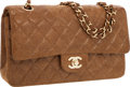 Luxury Accessories:Bags, Chanel Light Brown Caviar Suede Leather Medium Double Flap Bag with Gold Hardware. ...