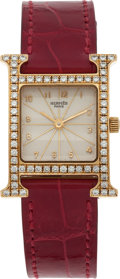 Luxury Accessories:Accessories, Hermes 18k Yellow Gold & Diamond H-Hour Watch with Shiny BraiseAlligator Band. ...