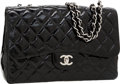 Luxury Accessories:Bags, Chanel Black Patent Leather Jumbo Single Flap Bag with SilverHardware. ...