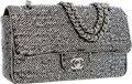 Luxury Accessories:Bags, Chanel Silver & Black Sequin Medium Single Flap Bag with SilverHardware. ...