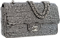Chanel Silver & Black Sequin Medium Single Flap Bag with Silver Hardware