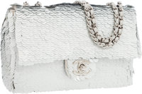 Chanel Silver Paillette Small Single Flap Bag with Silver Hardware