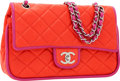 Luxury Accessories:Bags, Chanel Red & Fuchsia Lambskin Leather Medium Double Flap Bagwith Silver Hardware. ...