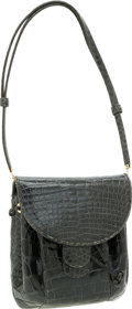 Luxury Accessories:Bags, Judith Leiber Shiny Gray Crocodile Drawstring Shoulder Bag. ...