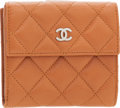 Luxury Accessories:Accessories, Chanel Light Brown Caviar Leather Bi Fold Wallet. ...