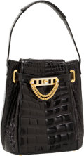 Luxury Accessories:Bags, Judith Leiber Shiny Black Crocodile Top Handle Bag. ...
