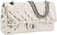 Chanel Metallic Silver Disco Ball Medium Double Flap Bag with Gunmetal Hardware & Jewel Chain Strap