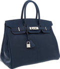 Luxury Accessories:Bags, Hermes 35cm Indigo Chevre Leather Birkin Bag with PalladiumHardware. ...