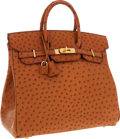 Luxury Accessories:Bags, Hermes 32cm Cognac Ostrich HAC Birkin Bag with Gold Hardware. ...