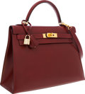 Luxury Accessories:Bags, Hermes 32cm Rouge H Calf Box Leather Sellier Kelly Bag with Gold Hardware. ...