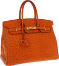 Luxury Accessories:Bags, Hermes 35cm Tangerine Ostrich Birkin Bag with Gold Hardware. ...