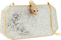 Luxury Accessories:Bags, Judith Leiber Full Bead Silver Crystal Elongated Hexagon MinaudiereEvening Bag with Tiger Clasp. ...