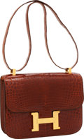 Luxury Accessories:Bags, Hermes 23cm Shiny Miel Nilo Crocodile Single Gusset Constance Bag with Gold Hardware. ...