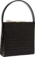 Luxury Accessories:Bags, Cartier Shiny Black Crocodile Top Handle Bag with Silver PanthereClosure. ...