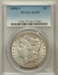 Morgan Dollars: , 1898-S $1 AU55 PCGS. PCGS Population (195/3731). NGC Census:(181/2191). Mintage: 4,102,000. Numismedia Wsl. Price for prob...