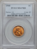 Lincoln Cents: , 1940 1C MS67 Red PCGS. PCGS Population (197/4). NGC Census:(557/0). Mintage: 586,825,856. Numismedia Wsl. Price for proble...