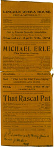 Miscellaneous:Ephemera, Fort Abraham Lincoln: An 1874 Silk Play Program with Custer Tie-in....