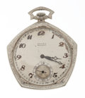 Timepieces:Pocket (post 1900), Gruen Verithin 14k Gold Open Face Pocket Watch. ...