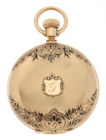 Timepieces:Pocket (post 1900), Waltham 18k Gold & Black Enamel Riverside Pocket Watch. ...