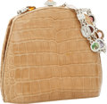 Luxury Accessories:Bags, Judith Leiber Beige Crocodile Evening Bag with Jeweled Strap. ...