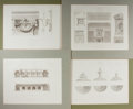 """Books:Prints & Leaves, [Architectural Prints] Lot of Four Engraved ArchitecturalIllustrations. Matted to an overall size of 17"""" x 14.25"""". Allexam..."""
