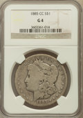 Morgan Dollars: , 1885-CC $1 Good 4 NGC. NGC Census: (3/9328). PCGS Population (14/18689). Mintage: 228,000. Numismedia Wsl. Price for proble...