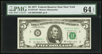 Fr. 1974-B* $5 1977 Federal Reserve Star Note. PMG Choice Uncirculated 64 EPQ