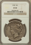 Peace Dollars: , 1928 $1 XF40 NGC. NGC Census: (55/6084). PCGS Population(104/8050). Mintage: 360,649. Numismedia Wsl. Price for problemfr...